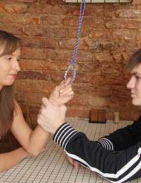 This sexy teen babe has never played with ropes before but when her boyfriend suggested that they try something a little kinkier she just couldn`t resist and told him she`d do anything he asked her to do!