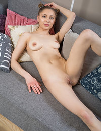 Skinny girl teases nude