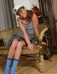 Sailor girl teen takes it all off and plays