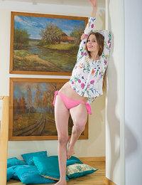 Cute teen in pink undies